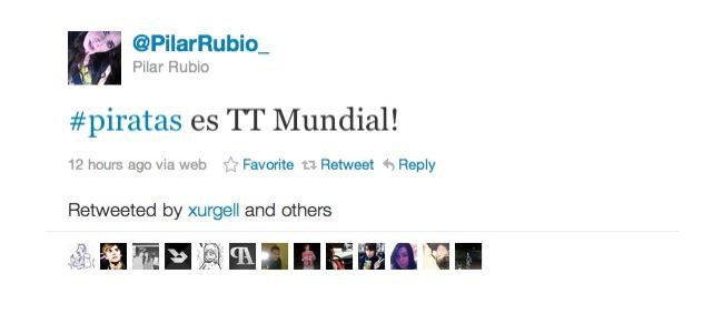 Tweet de Pilar Rubio contando que #Piratas era TT Mundial