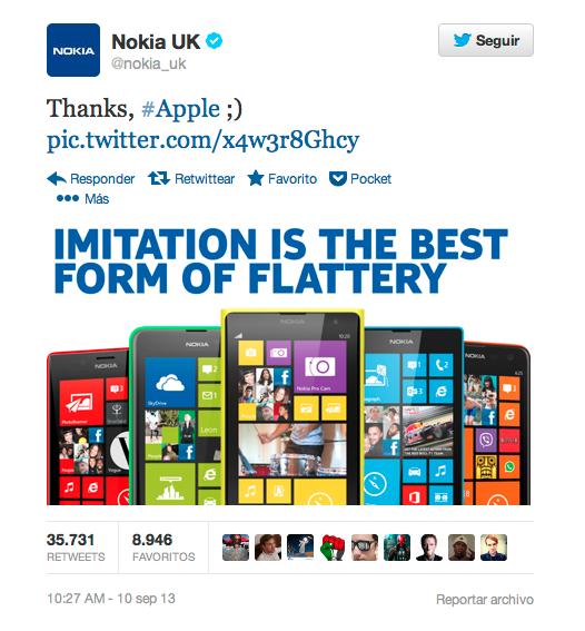 Nokia UK ataca a apple